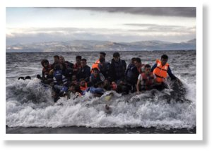Refugees arrive at Lesbos island