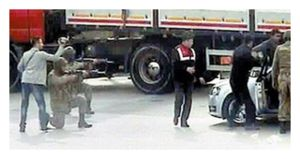 Turkish trucks caught carrying weapons for terrorists