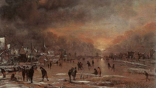 Sports on a frozen river painting