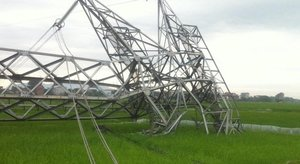 500kV power ilne damaged by storm