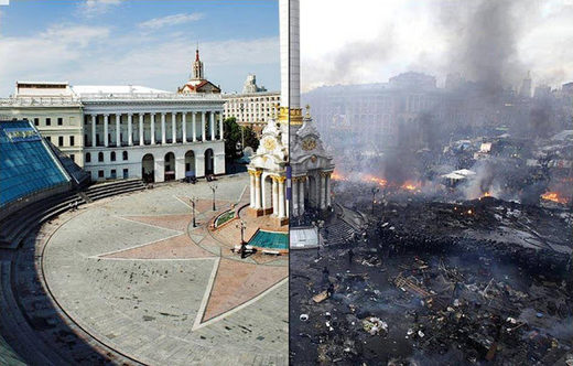 Maidan before and after pictures