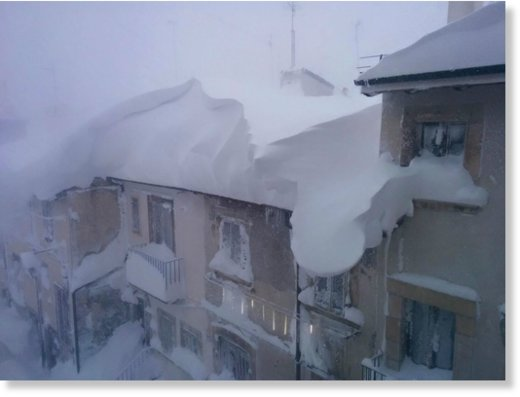 Heavy snowfall in Italy