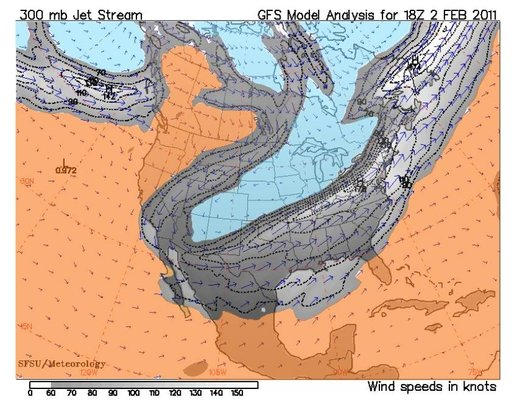 Figure 159: Jet stream over North America (February 2 nd , 2011)