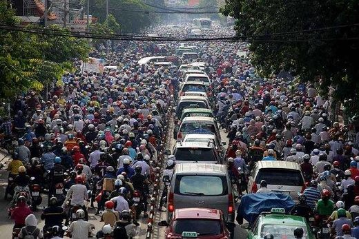 Traffic jam in Vietnam