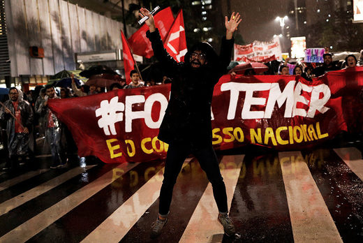 Demonstrators take part in a protest against Brazil's President Michel Temer