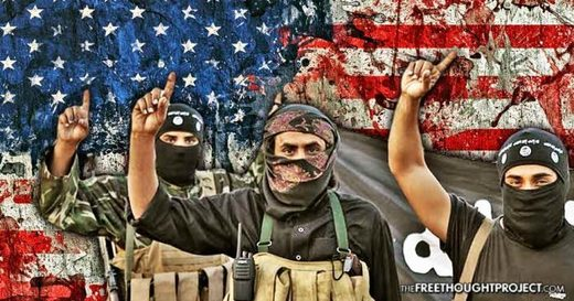 ISIS terrorists and US flag graphic