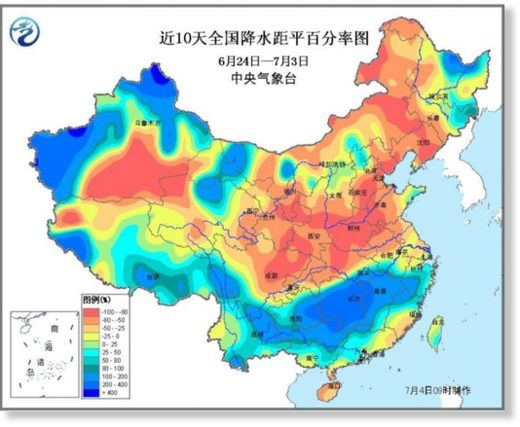 Rainfall anomaly in China from 24 June to 04 July, 2017.