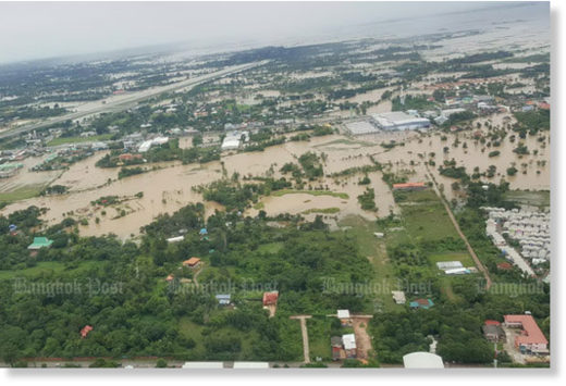 An aerial view of central Sakon Nakhon province on Saturday.