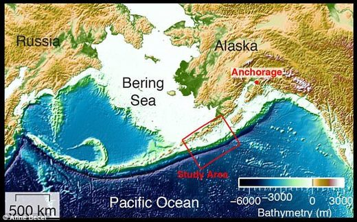 Fault segment near Alaska with potential of creating tsunami
