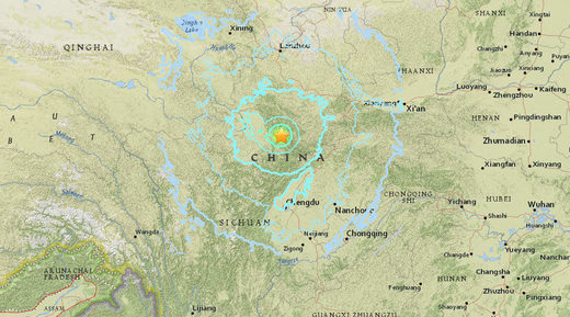 China earthquake map