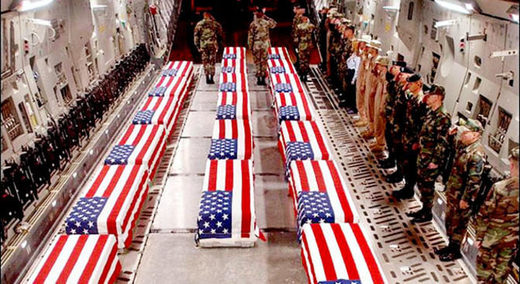 US flag wrapped coffins
