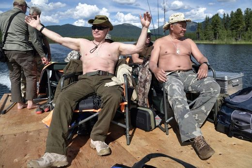 Putin Shoigu picnic bare chest