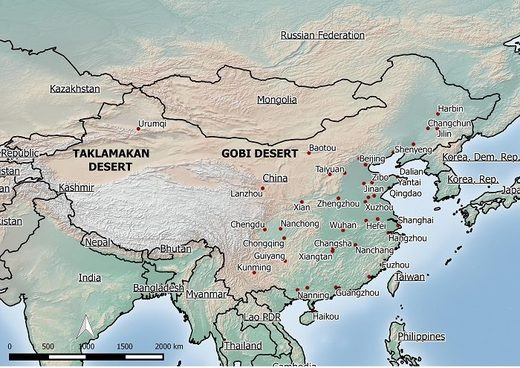 Map of Gobi and Taklimakan deserts