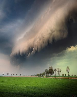 Dramatic skies as a shelf cloud rolled in over Wolfenbüttel, Germany