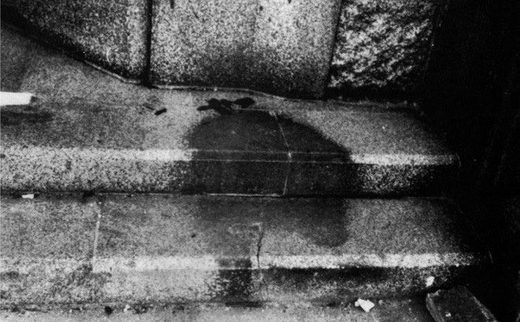 Human Shadow etched in stone hiroshima 1945