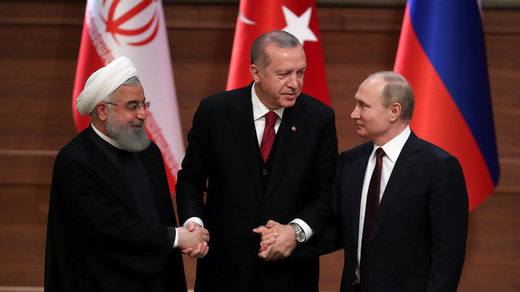 Presidents Hassan Rouhani, Tayyip Erdogan and Vladimir Putin
