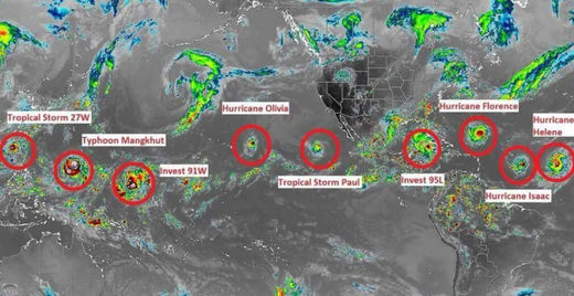 Satellite photo showing nine concurrent storms 13 Sept 2018