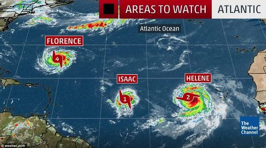 Three storms in Atlantic 13 Sept 2018 Florence Isaac Helene