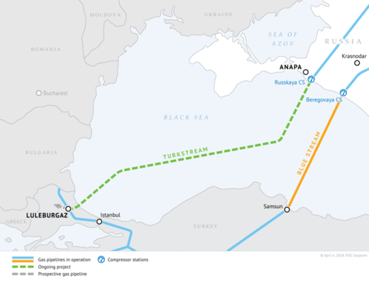 Turkish Stream gas pipeline route