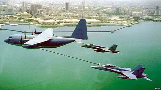 KC-130 oil tanker and F/A-18 war planes