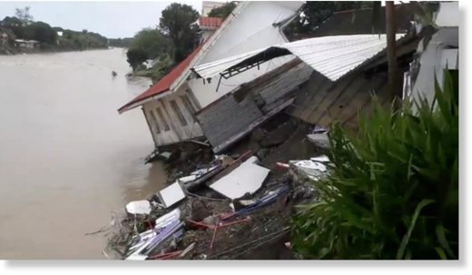 A destroyed house after a tropical depression in Camarines Norte