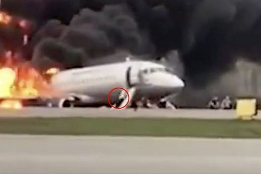 Plane on fire Moscow 5 May 2019